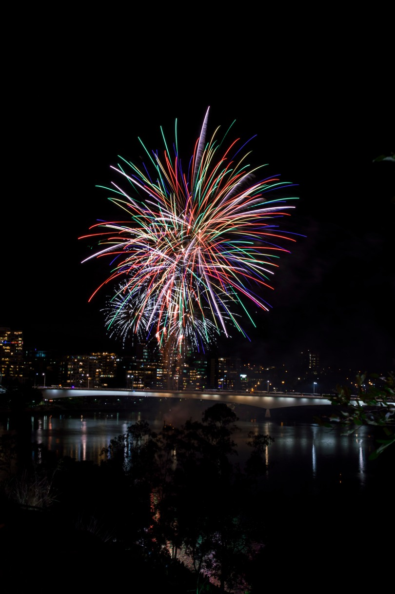 Colourful fireworks over Brisbane.