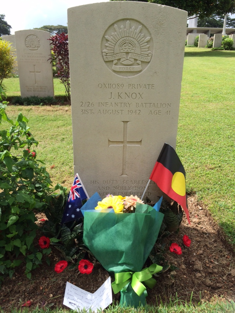 Private J Knox lies in Kranji War Cemetery, Singapore