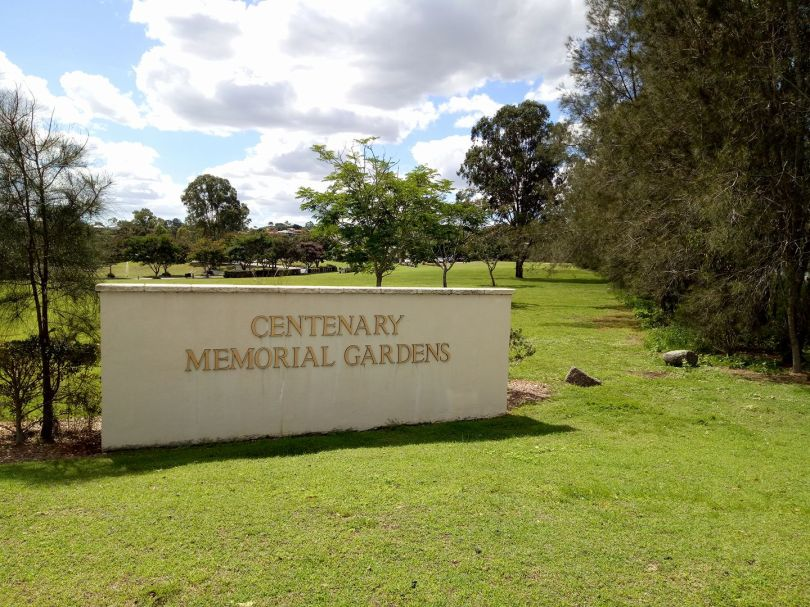 The entrance to Centenary Memorial Gardens and Crematorium