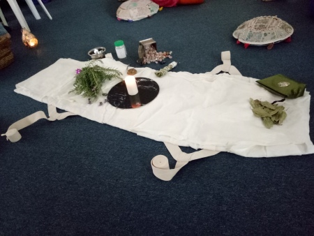 A burial shroud is laid out a Death Doula workshop in Brisbane.