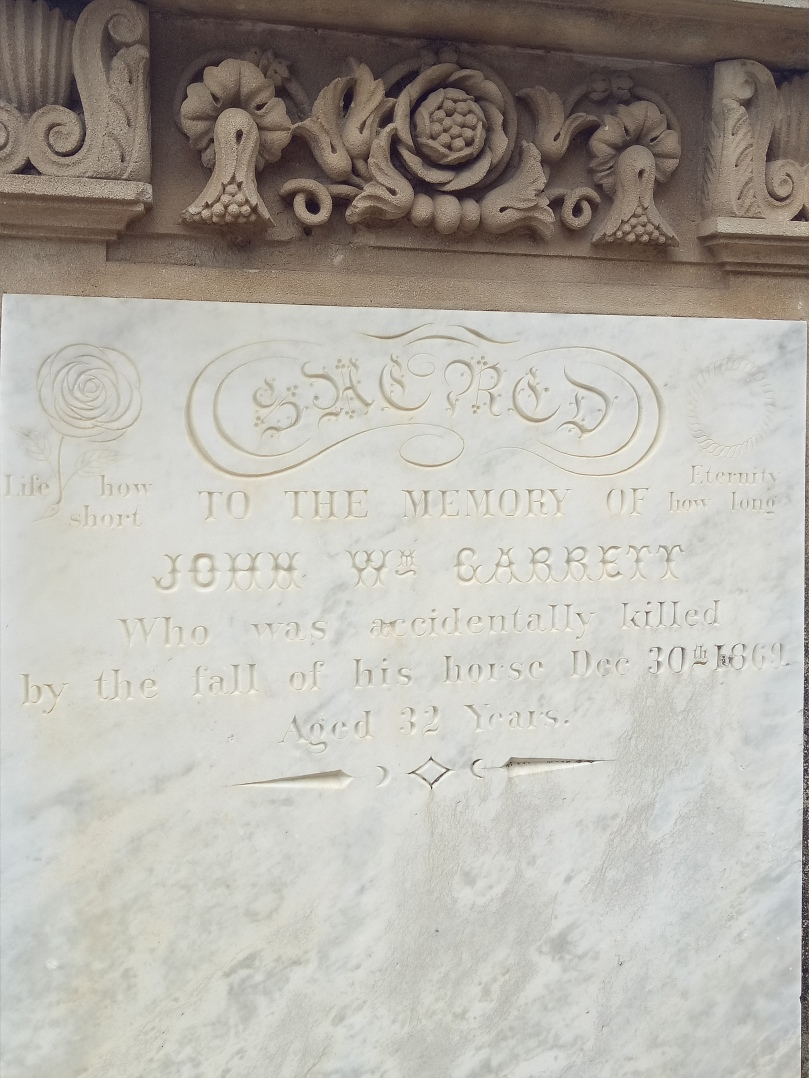 John Garrett, killed in a horse accident, aged 32. He lies in the Cromwell cemetery in New Zealand's South Island