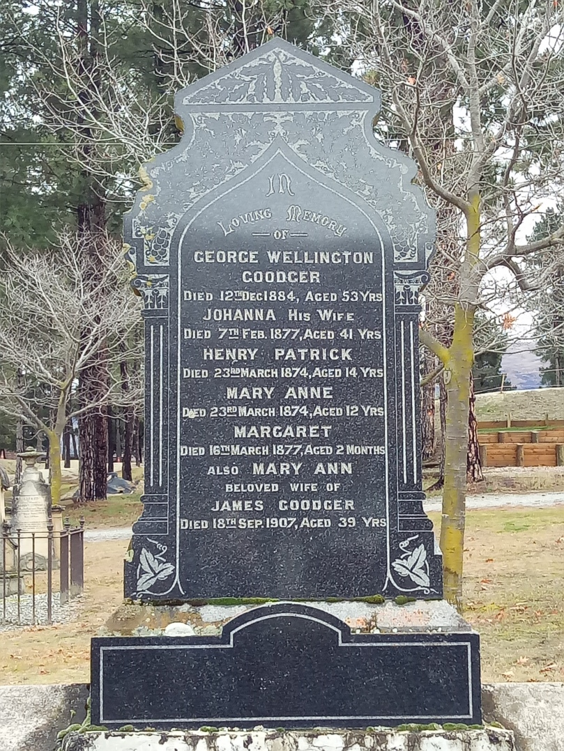 The Goodger family grave in the Crowell cemetery, New Zealand