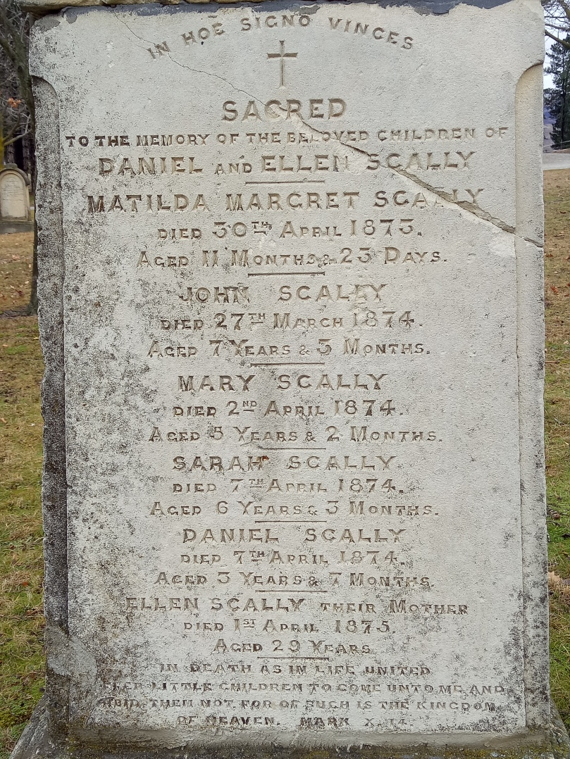 The Scally family's gravestone tells a sad story. Five children and their mother dying of typhoid.
