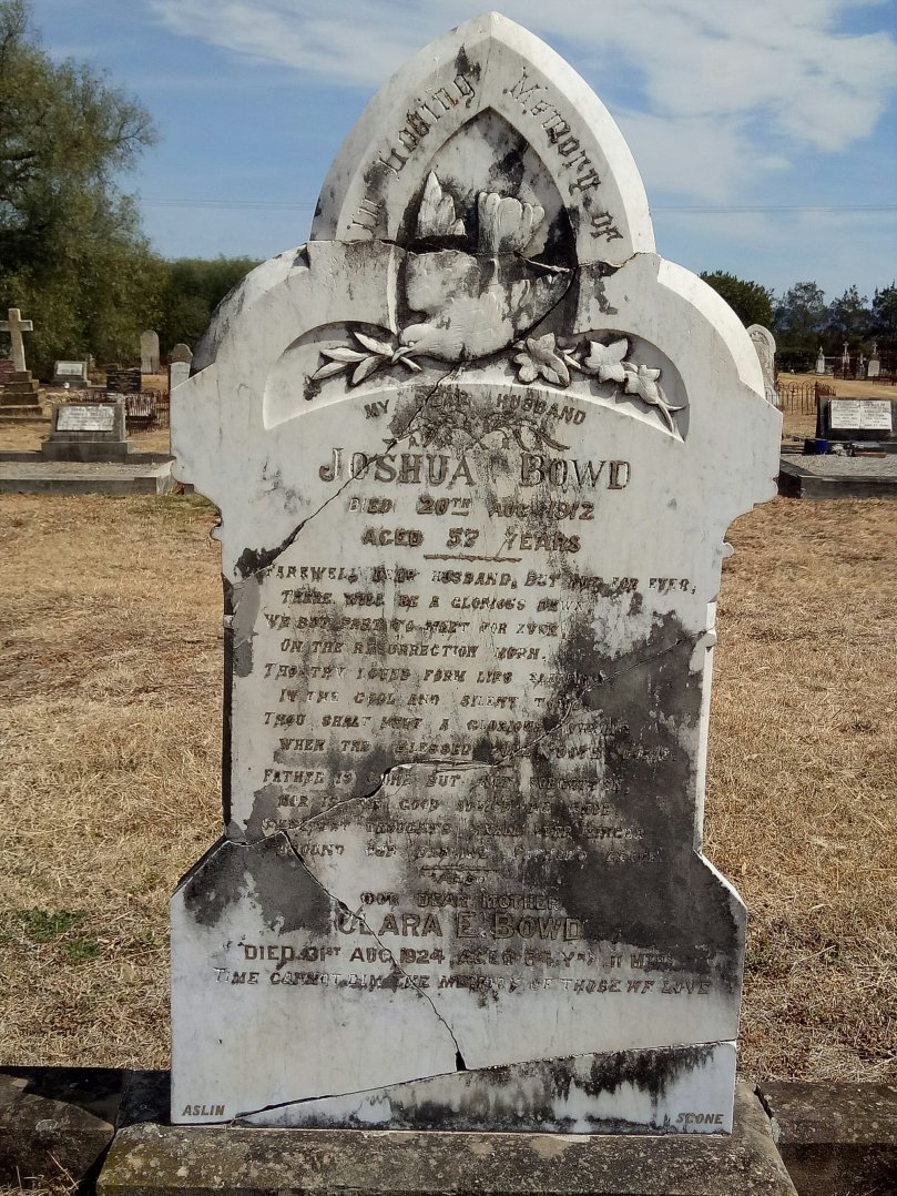 The century-old gravestone of Joshua and Clara Bowd has been repaired by Eddie Mason.