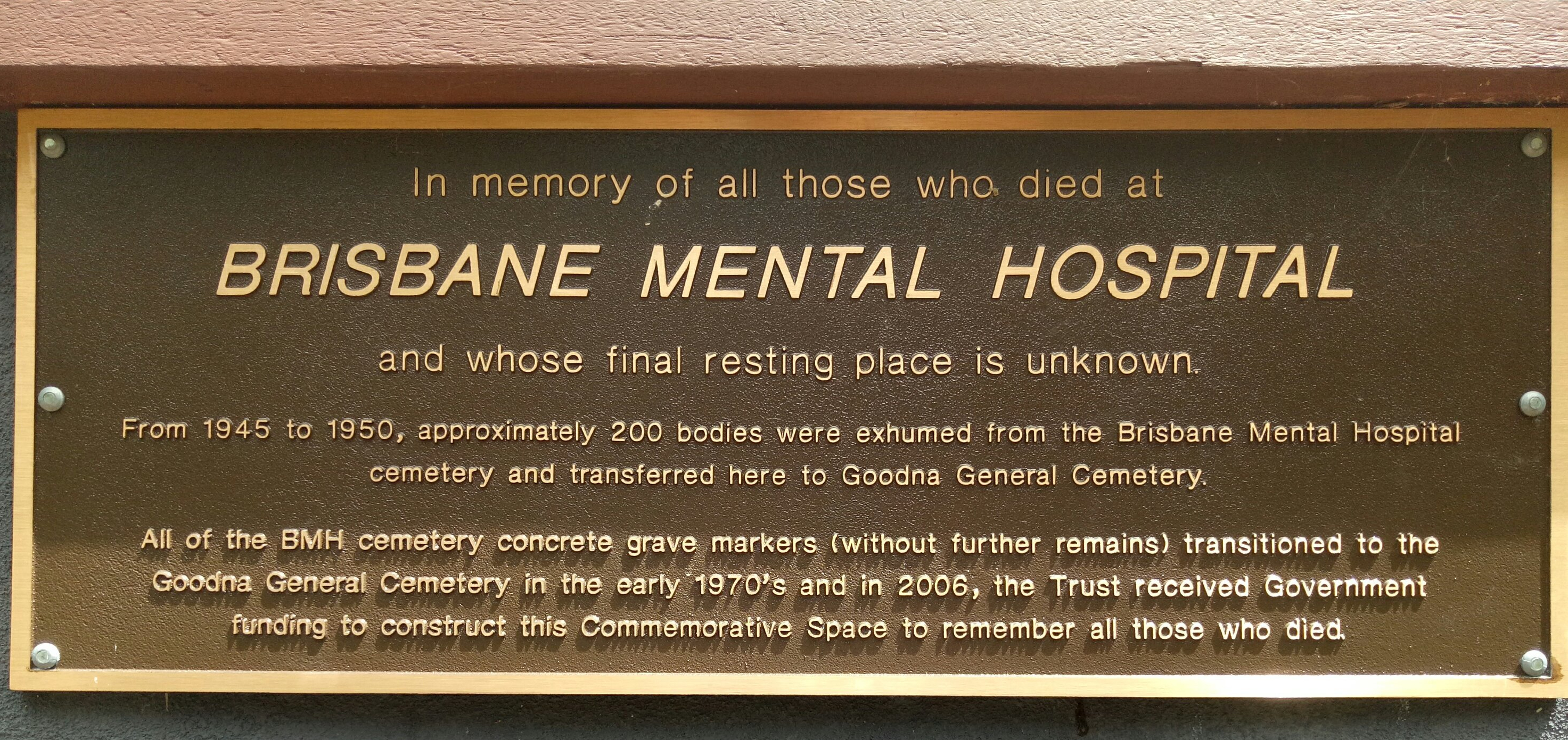 A memorial plaque at Goodna Cemetery