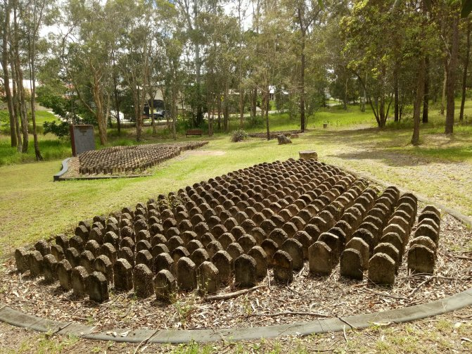 A memorial to those who died at Brisbane Mental Hospital sits in Goodna Cemetery.