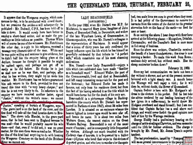 A 1869 Queensland Times article mentions the flooding potential of the Woogaroo Cemetery.