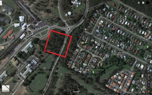 The estimated location of the Brisbane Mental Hospital Cemetery