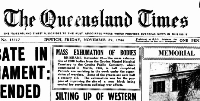 Qld Times article 29/11/46 - Mass Exhumation of Bodies