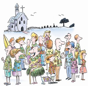 Some people plan themed funerals where there is a dress code, often bright colours. Illustration by Phil Judd for The Bottom Drawer Book.